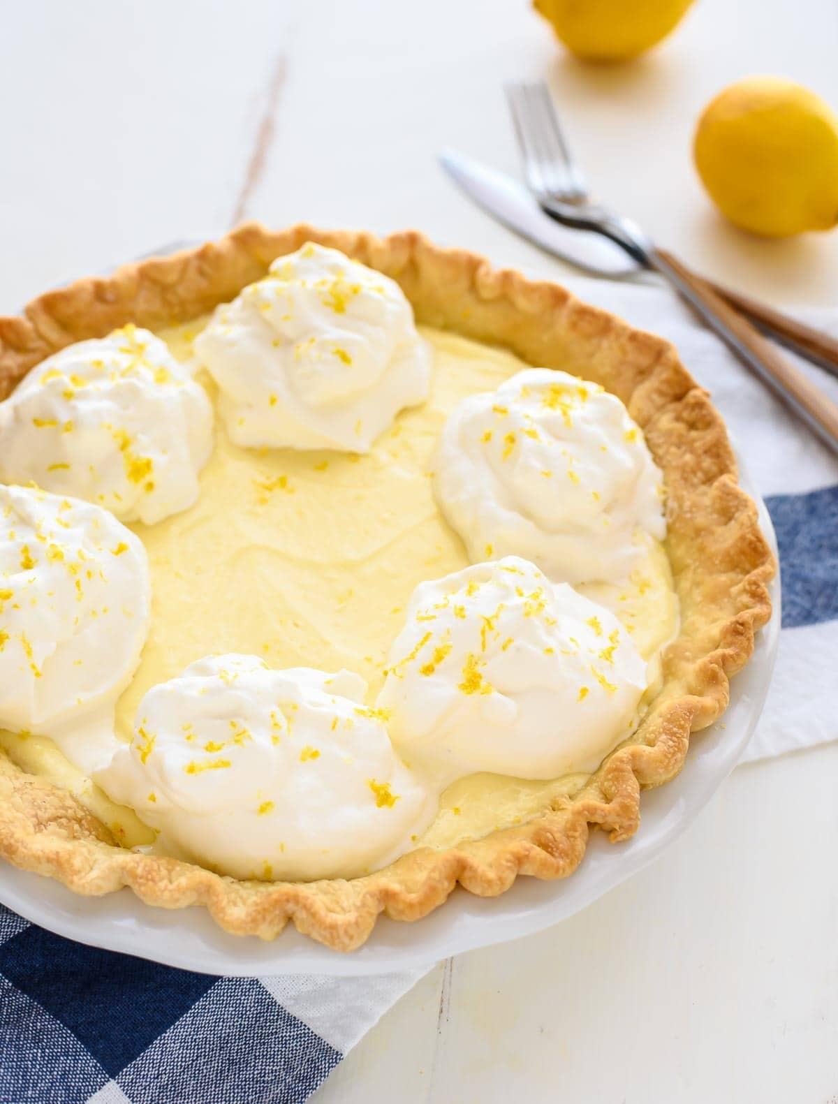homemade Lemon Cream Pie. My grandmother's original recipe with lemon ...
