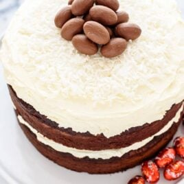 Top this fudgy Triple Chocolate Cake with milk chocolate eggs and you have an instant Easter Cake! Simple, beautiful, and a MUST BAKE for chocolate lovers! @wellplated