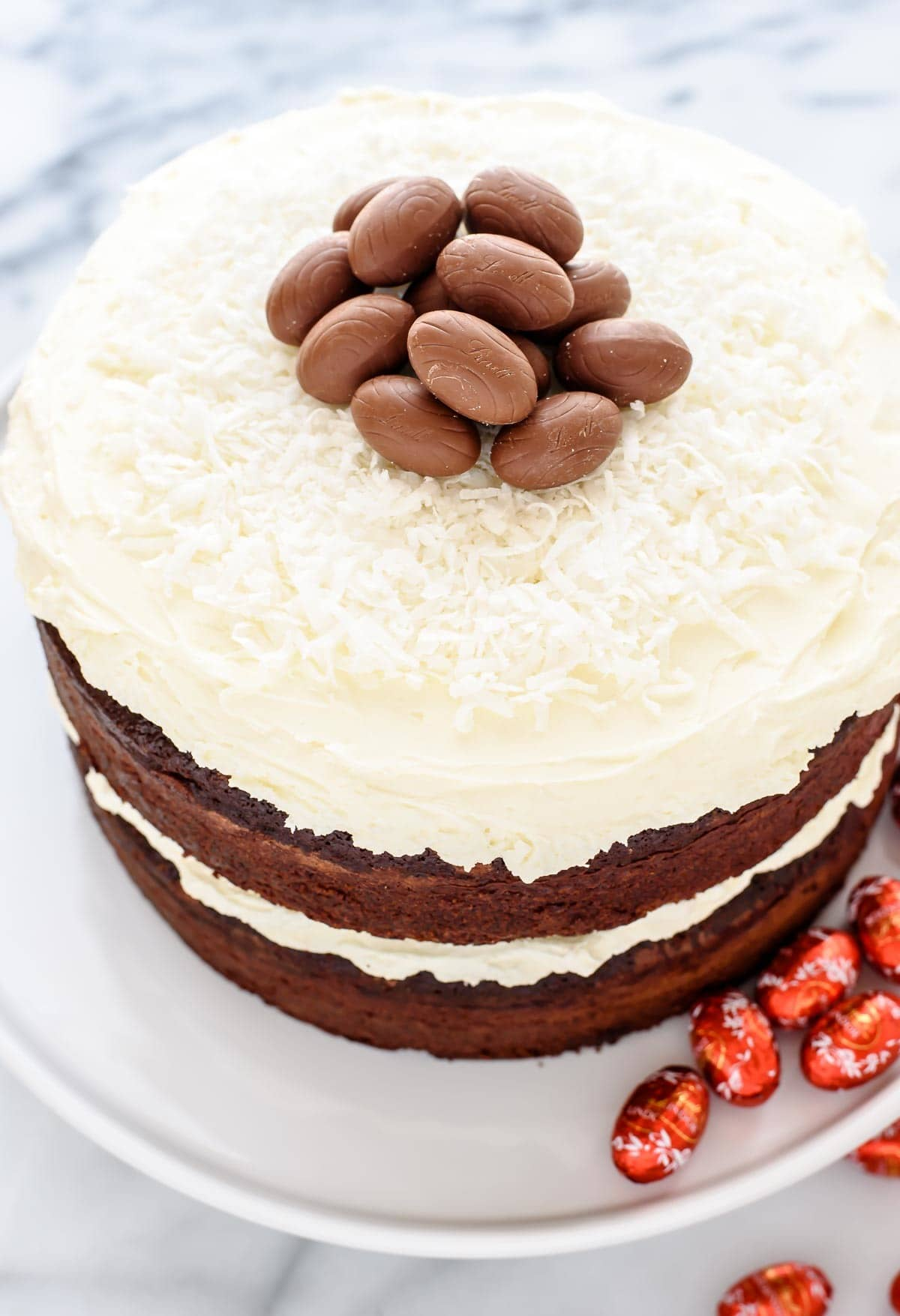 Triple Chocolate Easter Cake with White Chocolate Frosting