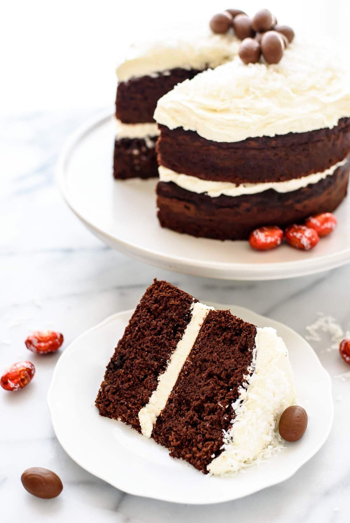 dark chocolate cake with white chocolate frosting and milk chocolate ...