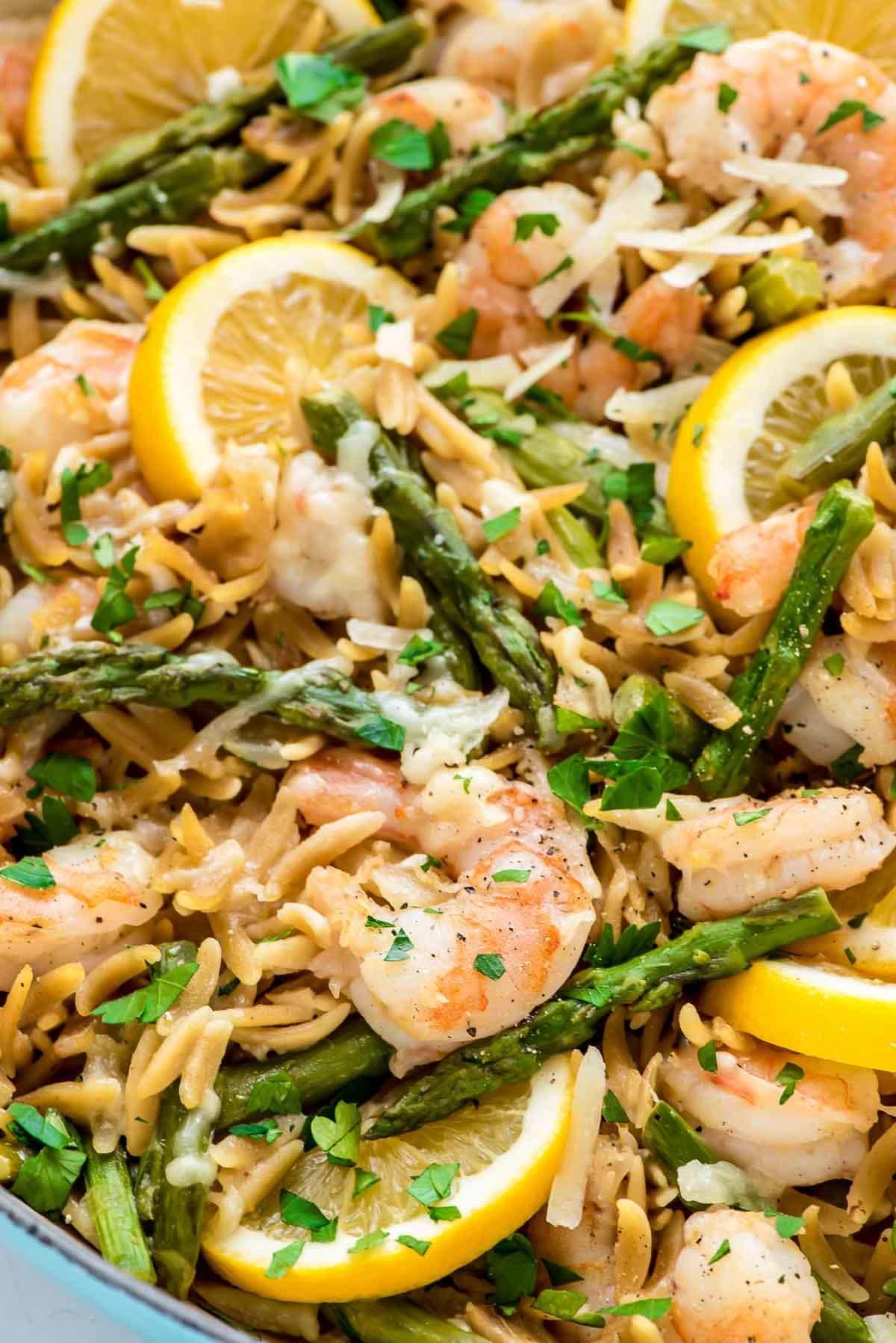 Lemon Shrimp Pasta with Orzo and Asparagus