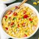 Slow Cooker Corn Chowder with Chicken - Heart, comforting, and CREAMY soup, made right in the crockpot. EASY and our whole family loves it! @wellplated