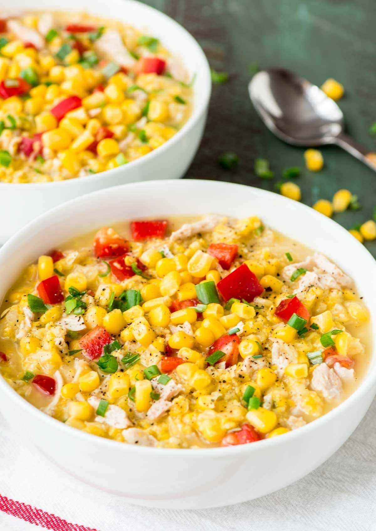 Lightened Up Creamy Crockpot Chicken and Corn Chowder — Delicious, filling, and EASY. Our whole family loved it! Perfect weeknight slow cooker recipe. @wellplated