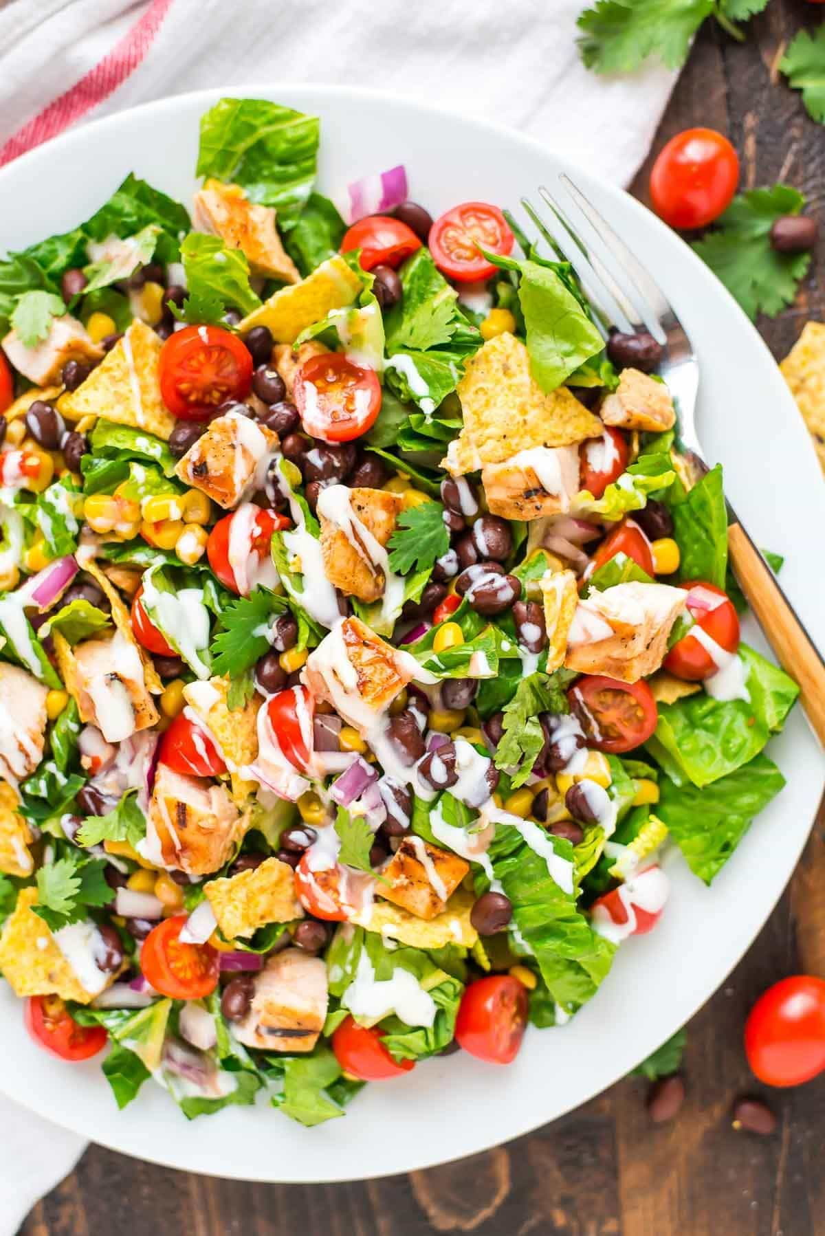 Bbq chicken salad with creamy ranch bbq chicken salad recipe with creamy ranch dressing filling and flavorful this healthy salad forumfinder Images