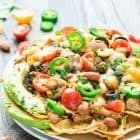 platter of healthy nachos with chicken made in a crock pot