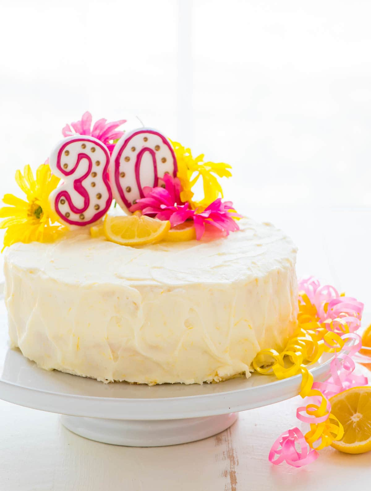 Lemon Layer Cake Frosted With Cream Cheese Frosting Topped Fresh Yellow Flowers And