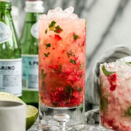 Just add blueberries to this Strawberry Mojito recipe, and you have the perfect red, white, and blue drink for Memorial Day or the Fourth of July! @wellplated