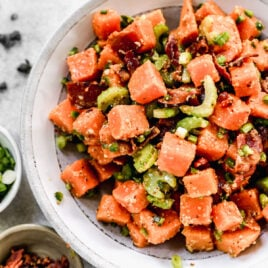 The BEST Sweet Potato Salad with Bacon! Easy, healthy recipe with no mayo. The zippy dressing makes this similar to German potato salad, but even better. Paleo and gluten free.