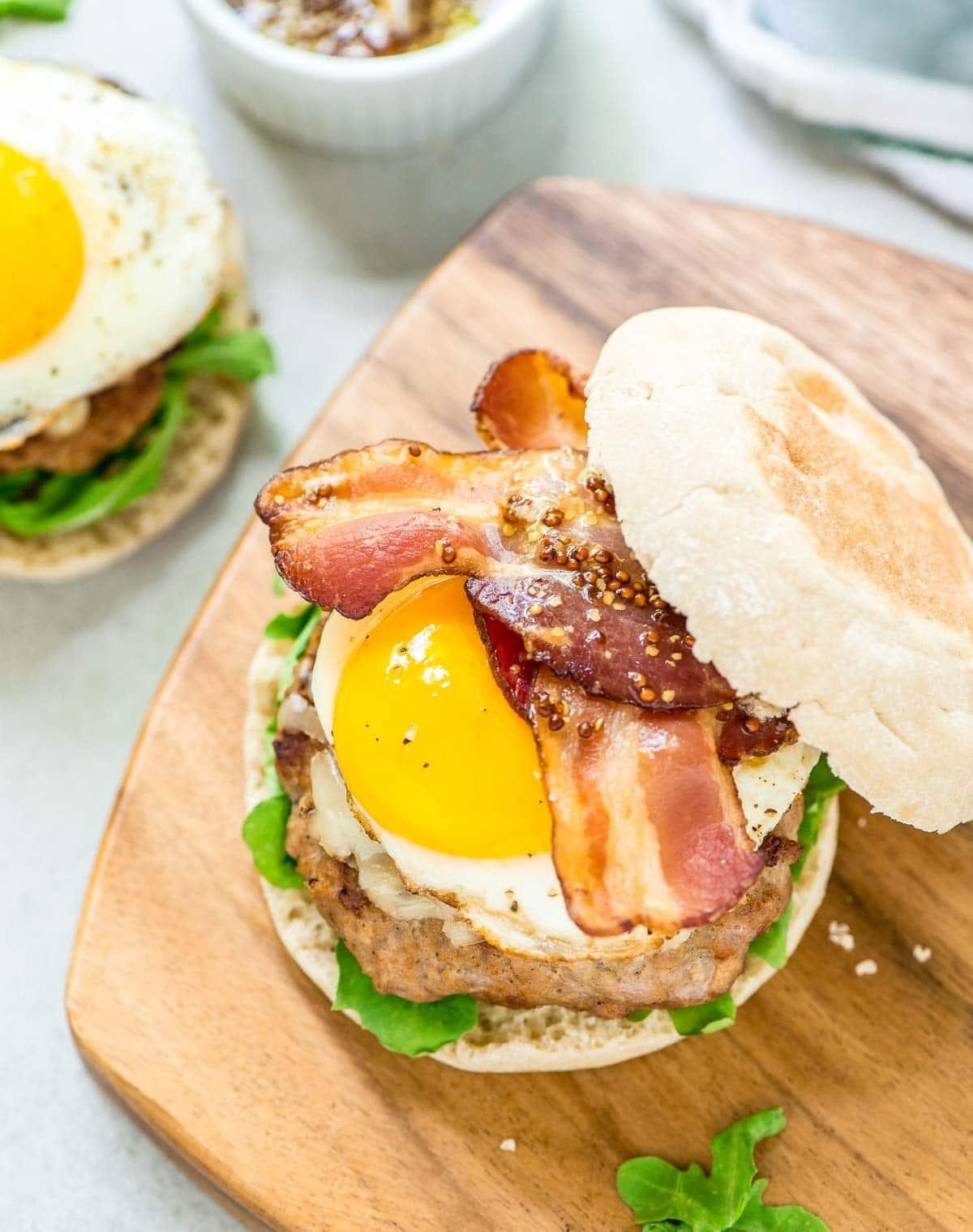 Maple Bacon Turkey Burgers with cheddar, Dijon, and a fried egg. Sweet, smoky and juicy! @wellplated