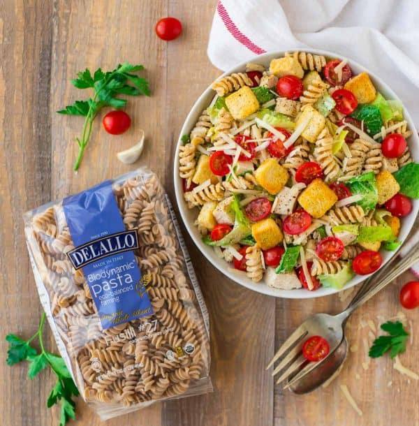 Healthy Chicken Caesar Pasta Salad. An easy whole grain side dish recipe.