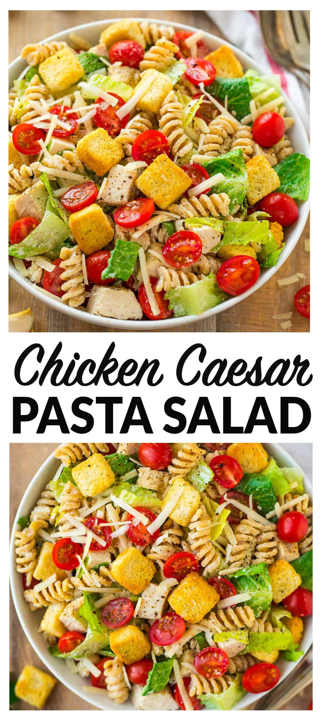 Healthy Chicken Caesar Pasta Salad. DELISH! Fresh, creamy, and packed with fresh veggies and juicy chicken. The dressing is made with Greek yogurt, so it's super creamy but much lighter. Perfect for parties, healthy lunches and dinners, and busy families. Use bowtie pasta or any shape you love. #pastasalad #healthy #chickencaesar #recipes