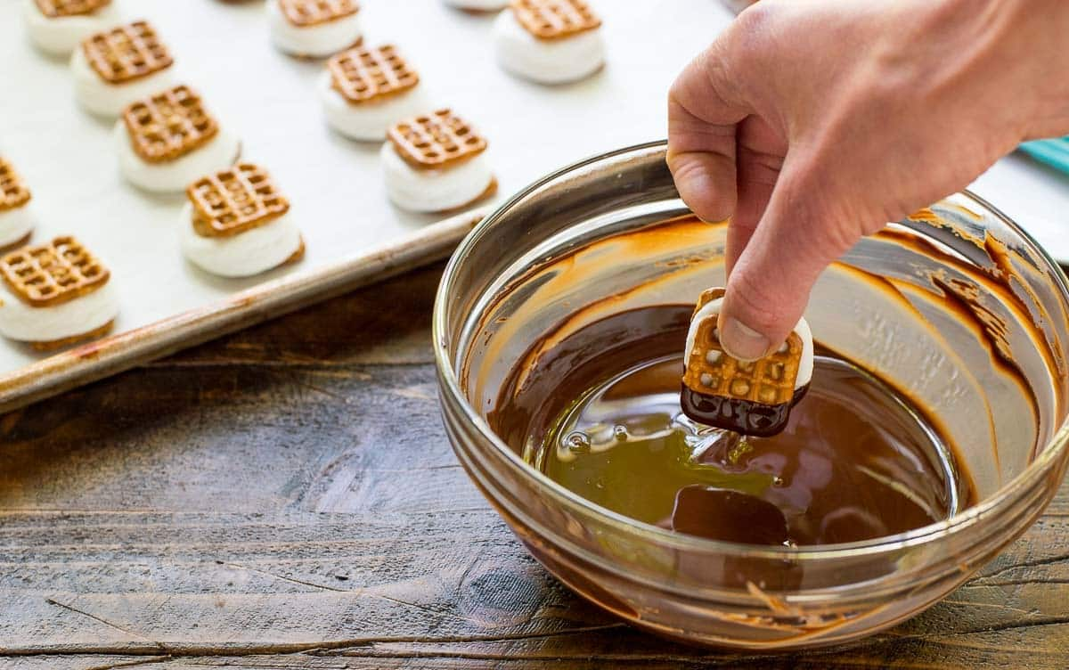 Chocolate Dipped Pretzel Smores Bites — EASY recipe for a summer party or to make with kids! @wellplated