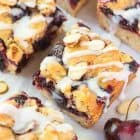 Cherry Bars — a cross between a pie bar and a crumb bar, this recipe for cherry pie bars is THE BEST! Layers of buttery shortbread bursting with a sweet cherry filling, with more buttery crumbs and almond glaze on top. Everyone loved these! @wellplated