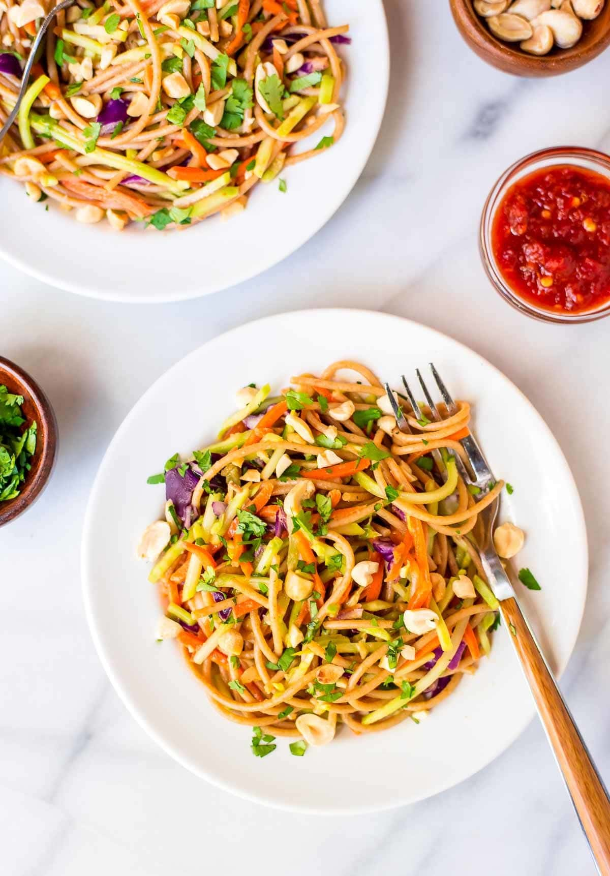 Asian Noodle Salad With Creamy Peanut Dressing Quick And Easy To Make Lightened Up