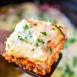 slice of Low Carb Lasagna made in a crock pot