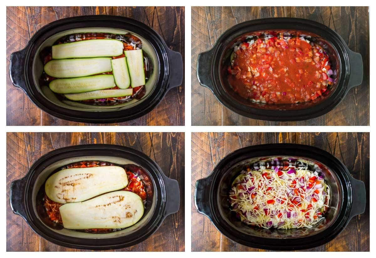 photo collage showing how to layer ingredients for a vegetable lasagna into a slow cooker