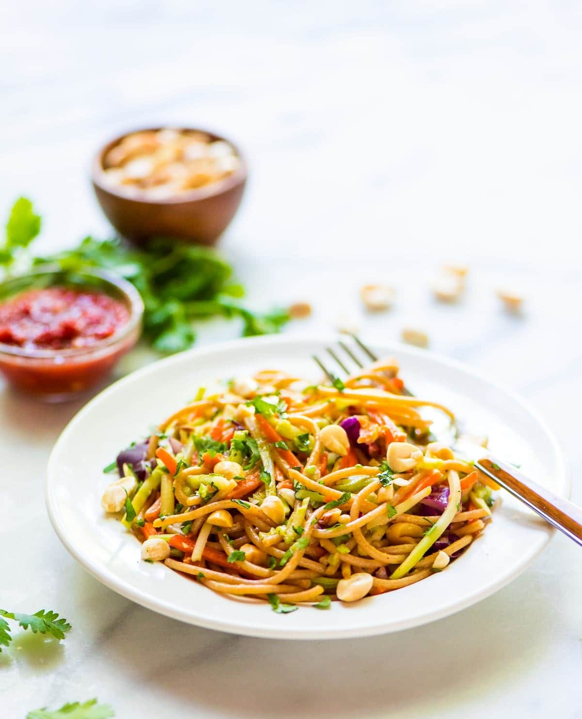 Asian Noodle Salad with Peanut Dressing. AMAZING cold pasta salad. Quick and easy, lightened up from the original, and everyone always asks for the recipe! Great for a cookout side dish or add chicken to make it a full meal. @wellplated