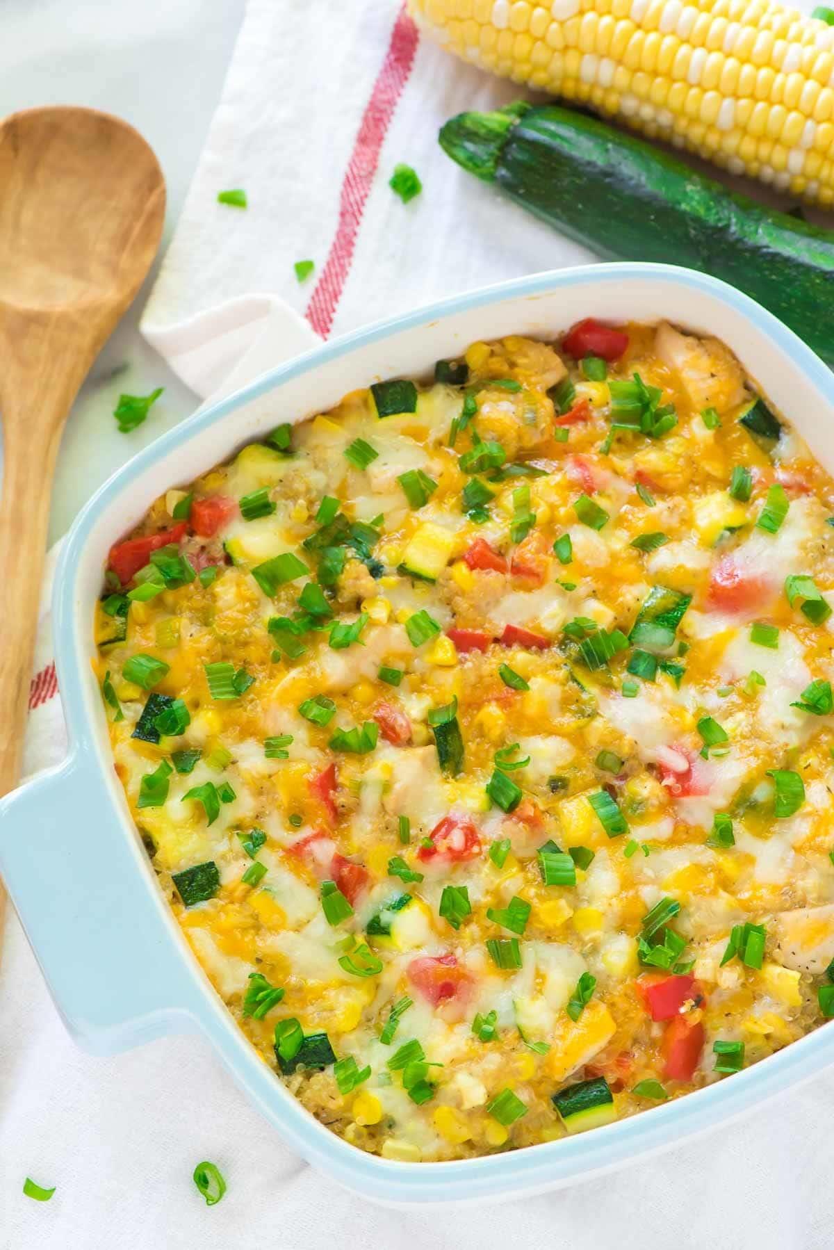 Cheesy Corn Chicken Quinoa Casserole — A lightened up, healthy corn ...