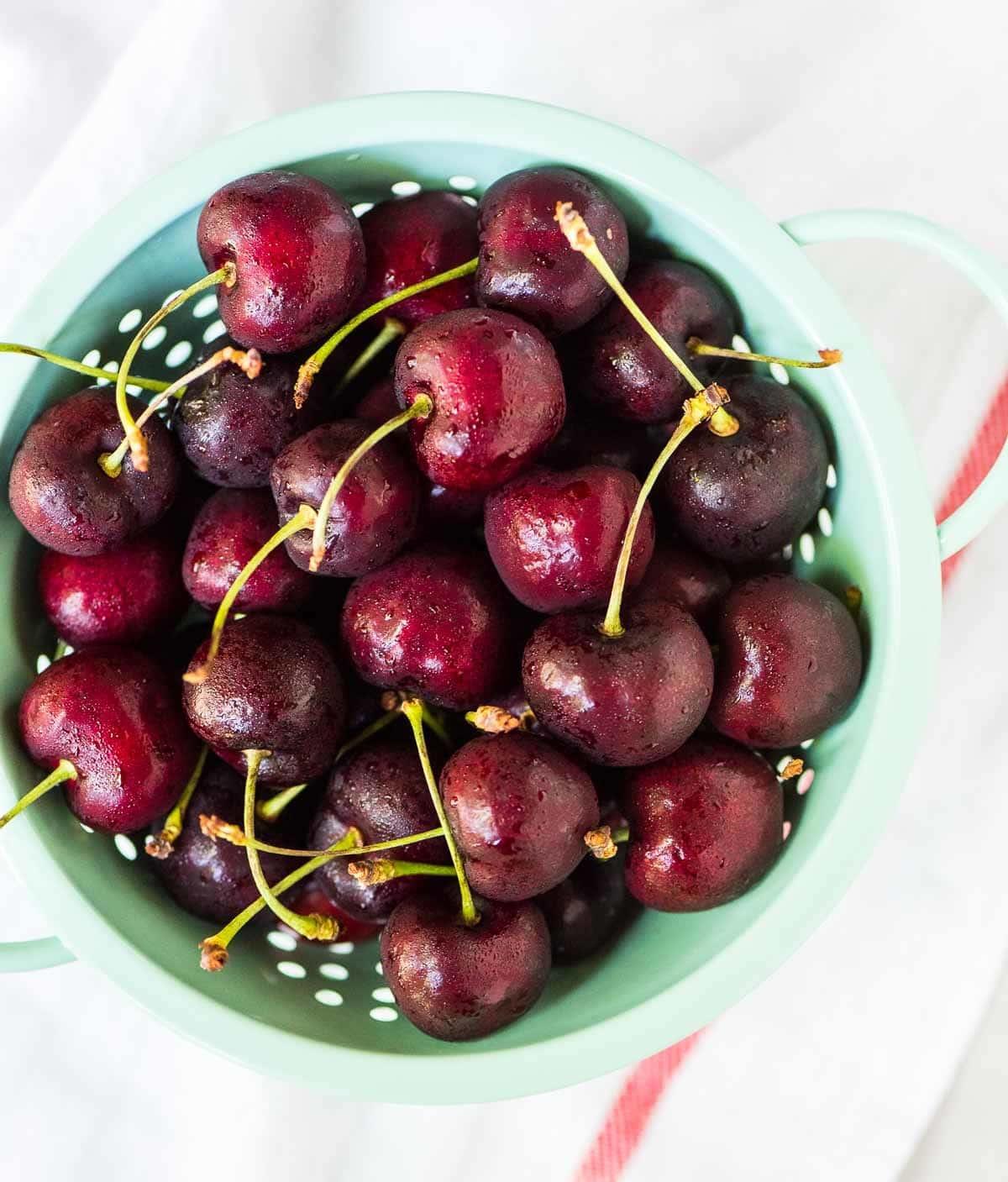 bowl of fresh sweet cherries for making homemade cherry pie filling