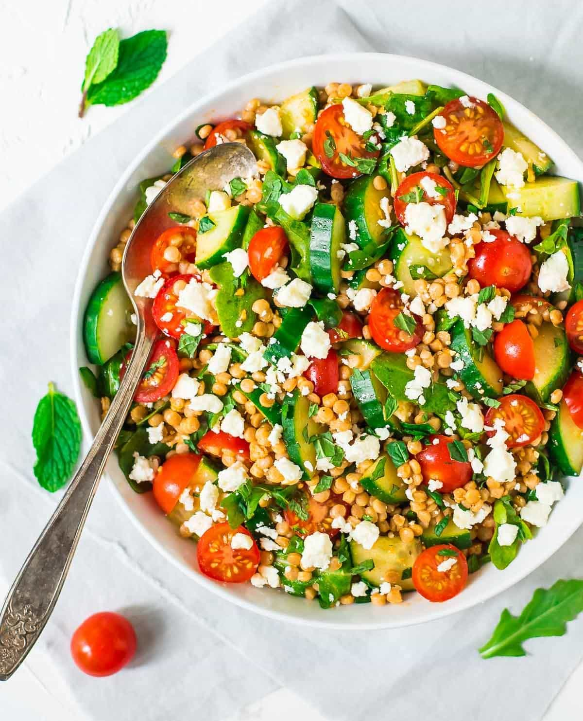 Mediterranean Couscous Salad with Feta and Mint — A quick and easy meal that's fresh and flavor packed! @wellplated