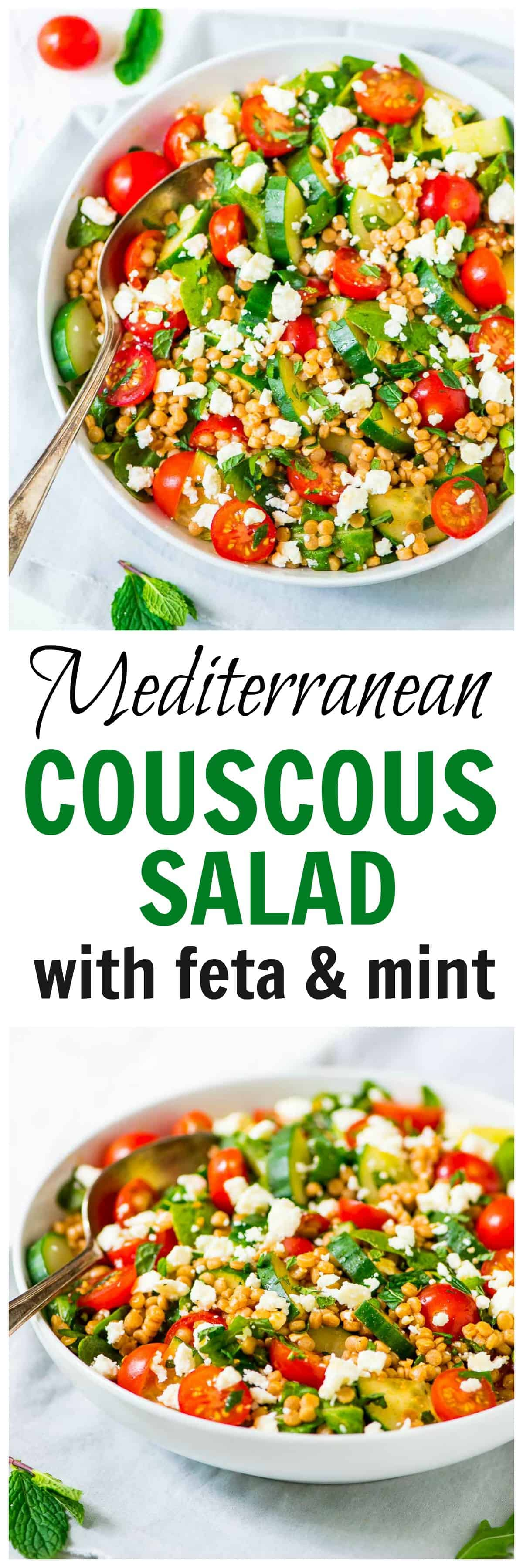 Israeli Pearl Couscous Salad With Feta And Mint Wellplated Com