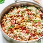 ONE PAN Feta Chicken Pasta Skillet – Only 5 ingredients! Everything cooks in one pan, including the pasta. EASY, delicious, and ready in less than 30 minutes! @wellplated