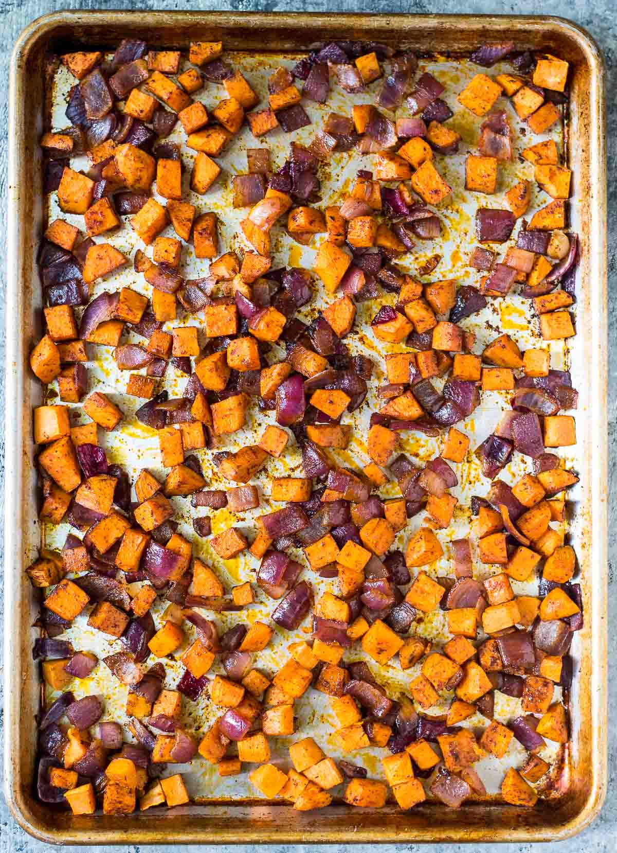 rimmed baking sheet of Roasted Sweet Potatoes