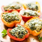 Spinach Artichoke Quinoa Stuffed Bell Peppers – Easy, budget-friendly, and delicious! @wellplated