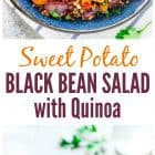 titled photo collage - sweet potato quinoa black bean salad