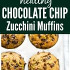 titled photo collage - healthy zucchini muffins with chocolate chips