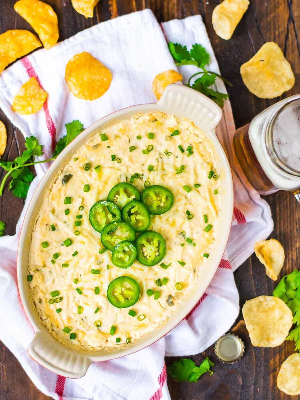 Hot Crab Dip - the BEST easy party appetizer. Made with cream cheese, sweet crab, and shredded cheese. Perfect for football food for game day and tailgates. @wellplated