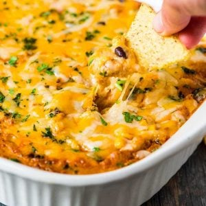 Skinny Chicken Enchilada Dip. Easy and CHEESY. A lighter twist on everyone's favorite appetizer!