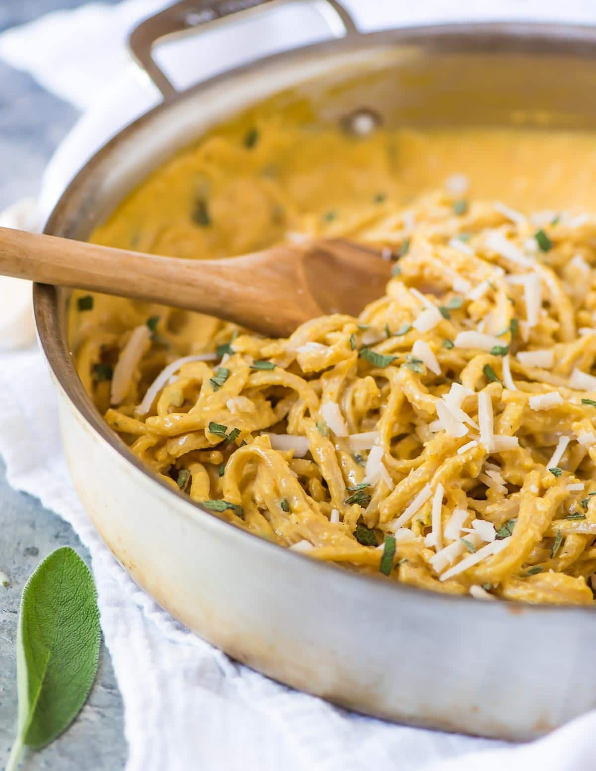 If you like pumpkin you will LOVE this Creamy Pumpkin Pasta Sauce. Tastes like Alfredo, but is healthy and easier to make!