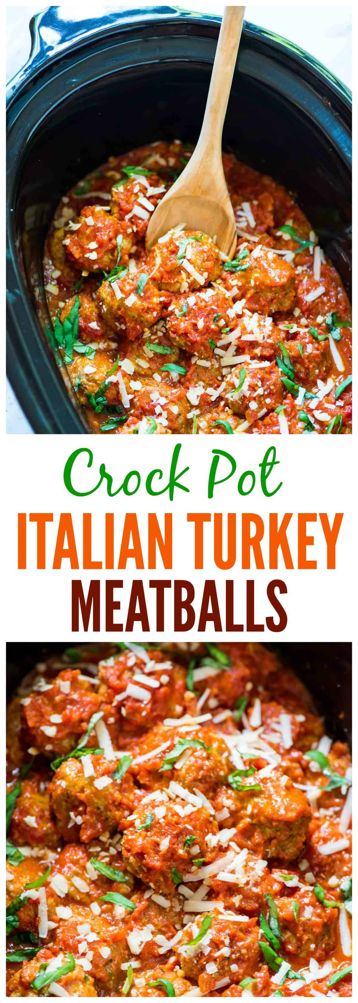 Crock Pot turkey meatballs are tender, juicy homemade turkey meatballs. The slow cooker makes this this Italian turkey meatballs recipe easy to make, and they're freezer friendly and healthy, too. #slowcooker #crockpot #turkey #healthyrecipe