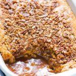 Pumpkin Pecan Cobbler. Buttery pumpkin cake on top, hot caramel sauce underneath. The BEST pumpkin dessert! @wellplated