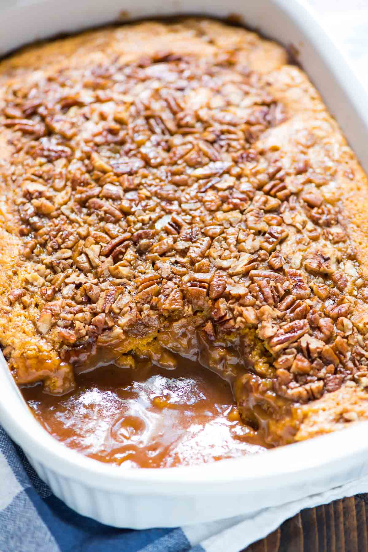 Pumpkin Pecan Cobbler. Buttery pumpkin cake on top, hot caramel sauce ...