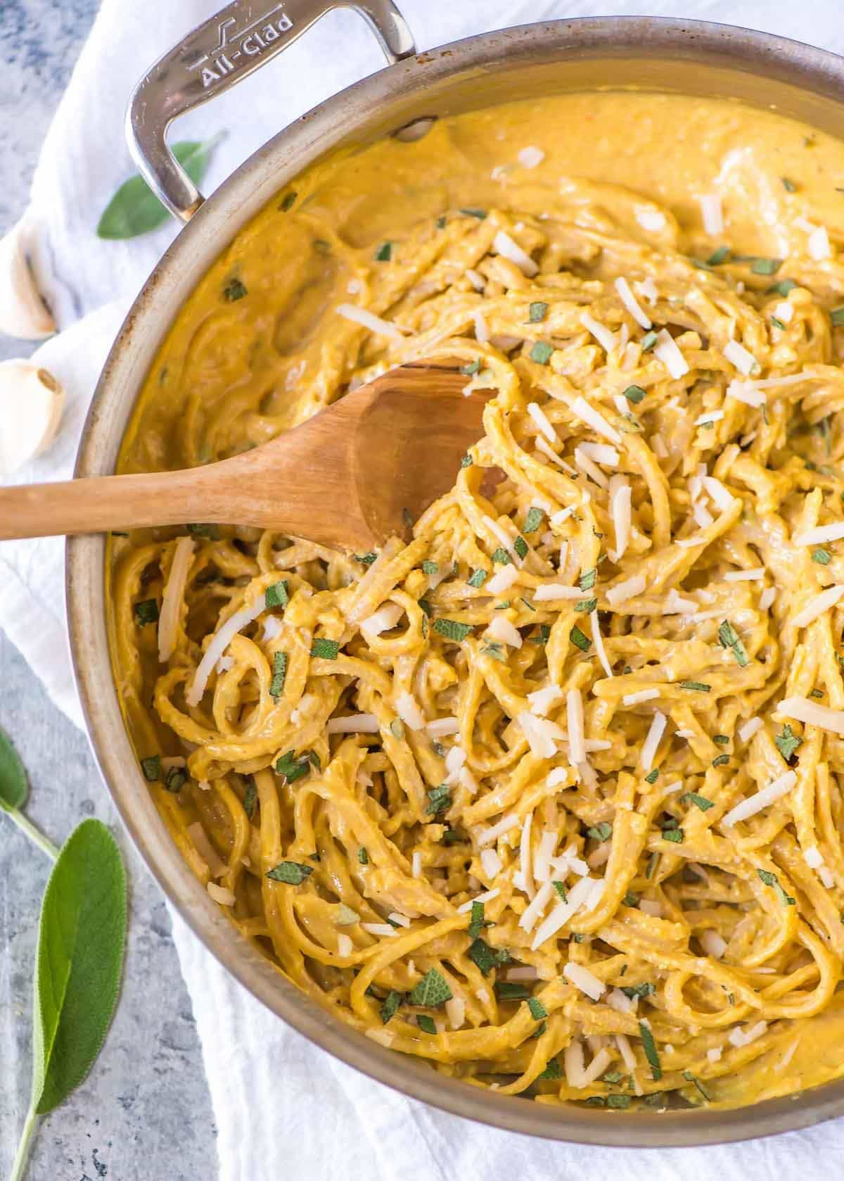 Creamy and delicious pumpkin pasta sauce with noodles