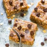 Thick and chewy Peanut Butter Oatmeal Chocolate Chip Bars. NO butter, oil, or refined sugar! ONE BOWL. You're going to love this easy, healthy recipe! @wellplated