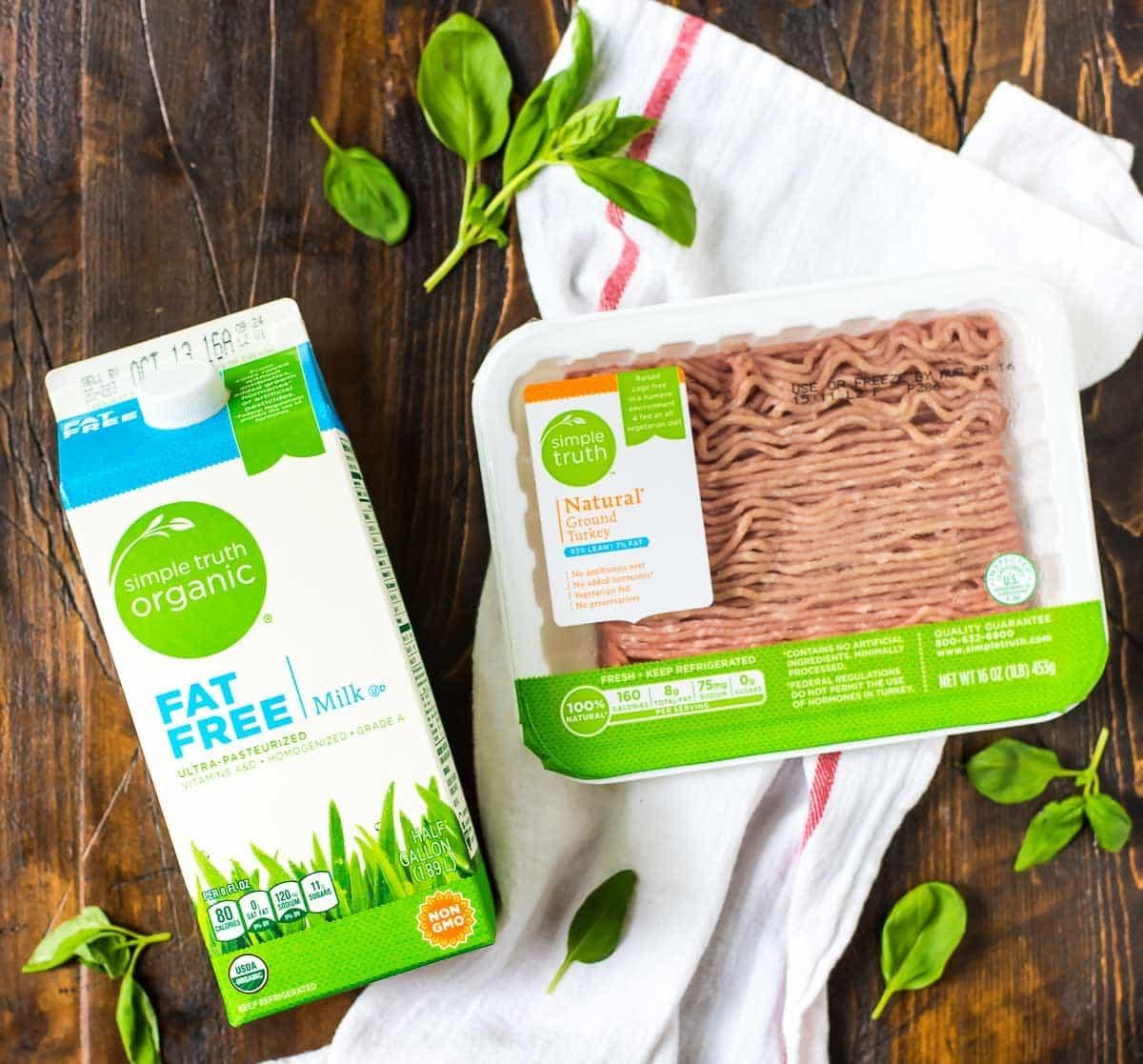 Simple Truth organic ground turkey and fat free milk