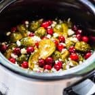 Slow Cooker Brussels Sprouts with Maple, Cranberries, and Feta. Easy crockpot recipe! @wellplated