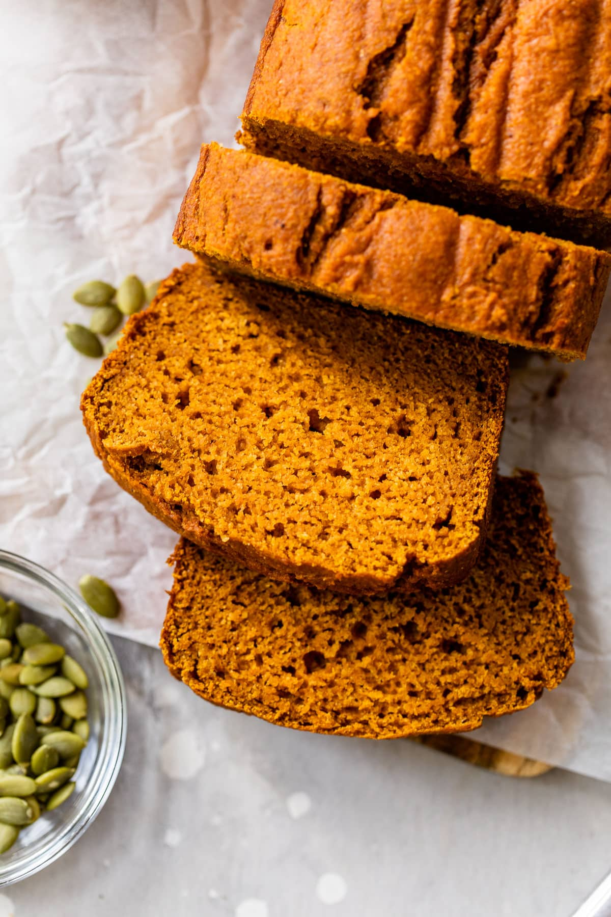 Healthy pumpkin bread sliced