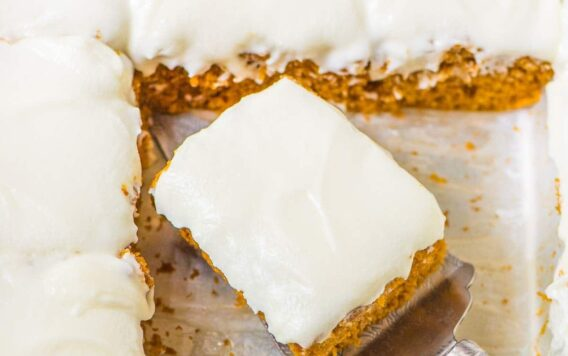 Greek Yogurt Pumpkin Spice Cake with Cream Cheese Frosting. Moist, DELICIOUS, and healthier than most! Easy, one-bowl recipe that's perfect for fall and Thanksgiving holidays. @wellplated