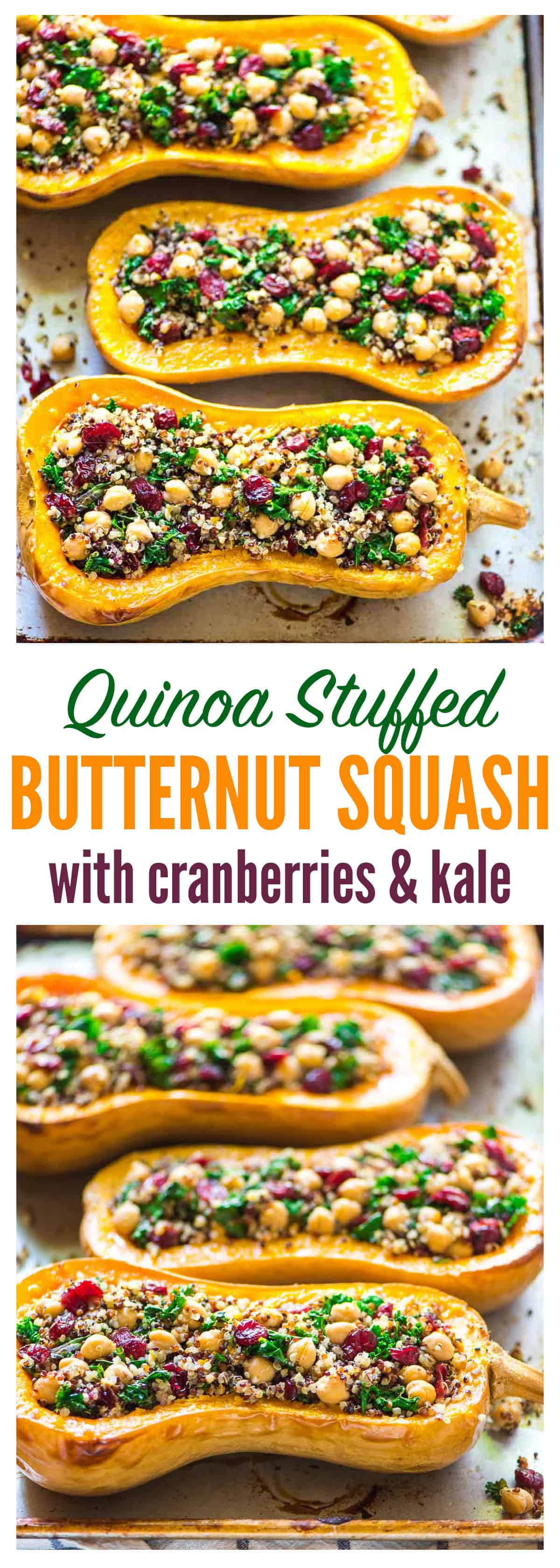 Quinoa Stuffed Butternut Squash with Cranberries and Kale   Well Plated
