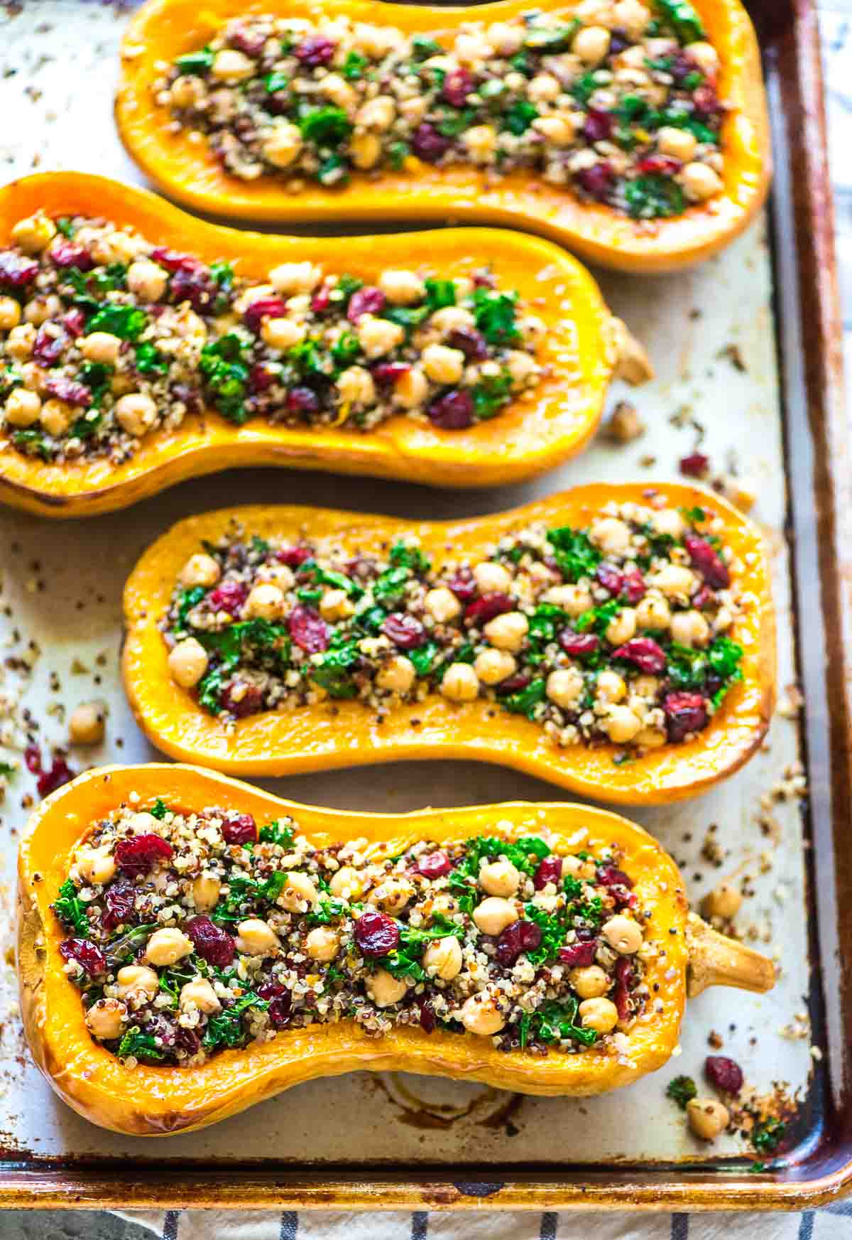 Stuffed Butternut Squash with Quinoa Cranberries and Kale