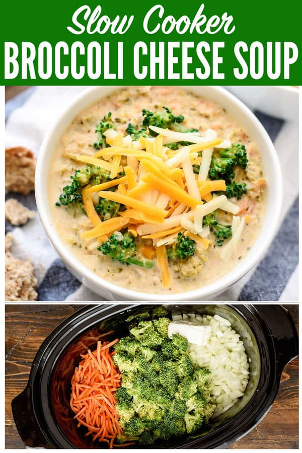Easy and healthy recipe for Slow Cooker Broccoli Cheese Soup! It's better than Panera's broccoli and cheese soup, because this a crock pot recipe! #slowcooker #soup #recipe #crockpot #healthy