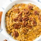 Slow Cooker Overnight Pumpkin Steel Cut Oats. The perfect fall breakfast. Ready to go as soon as you wake up! @wellplated