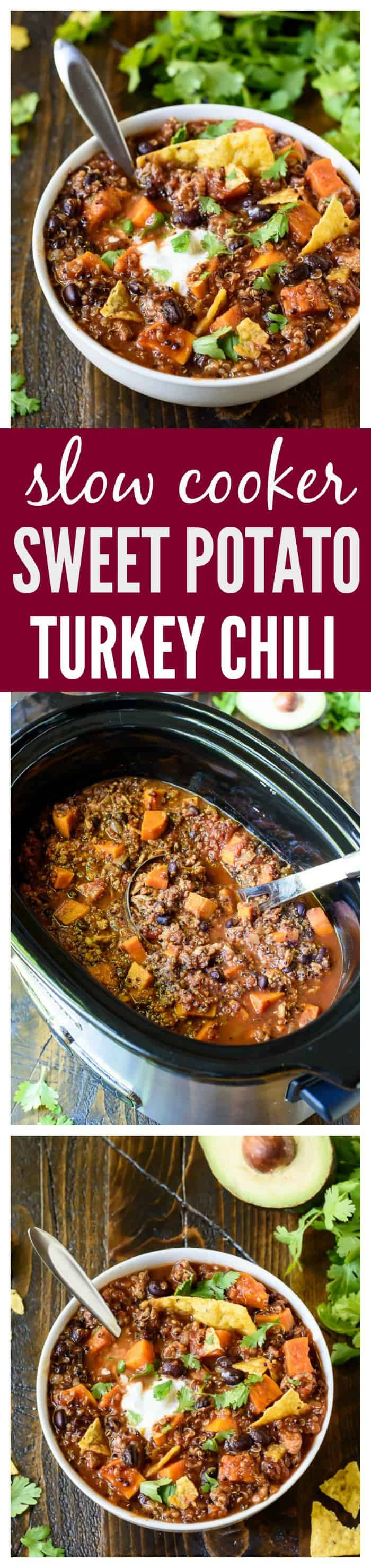 Slow Cooker Turkey Quinoa Chili with Sweet Potatoes and Black Beans. The best crock pot turkey chili recipe I've ever made! #crockpot #slowcooker #chili #recipe