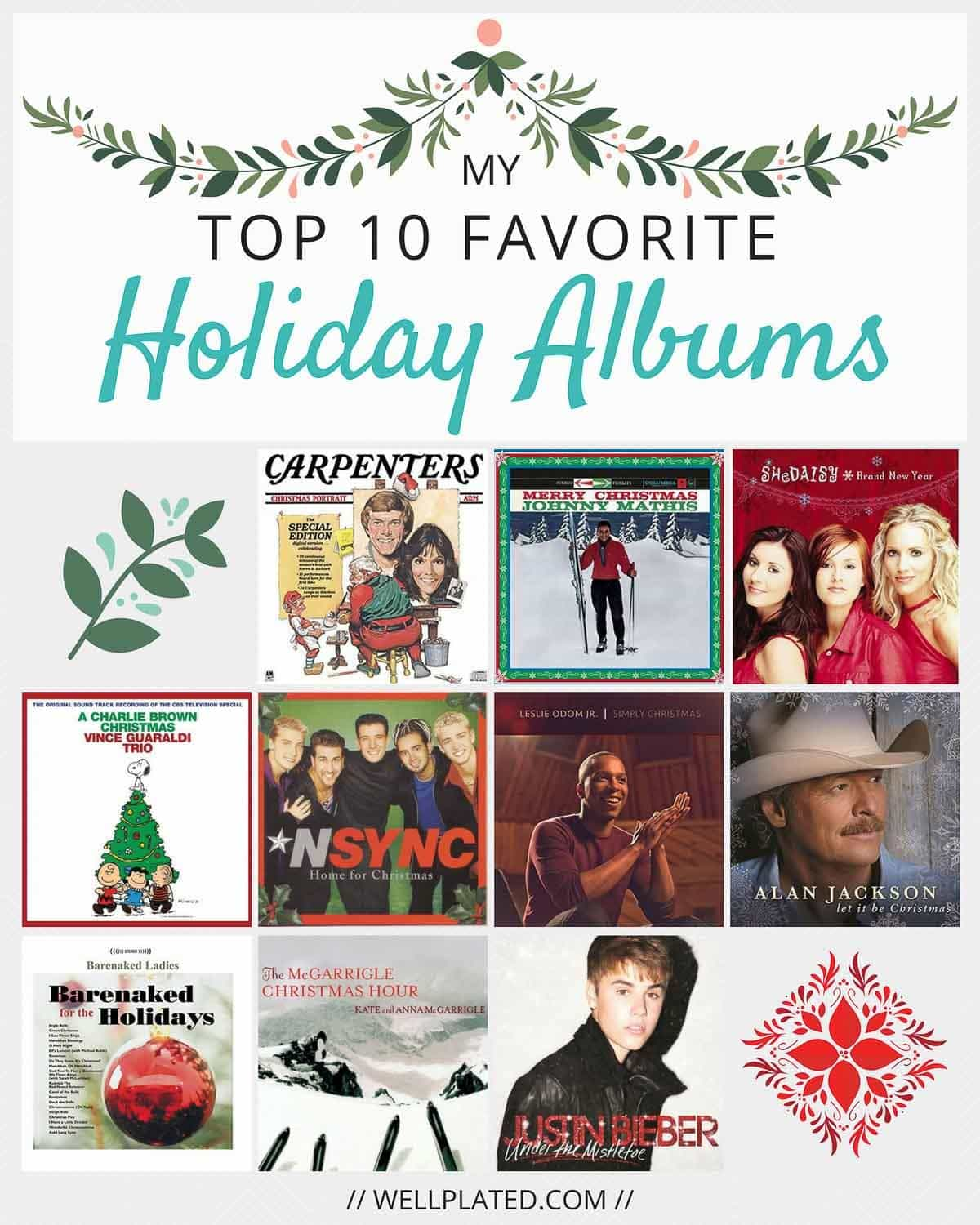 The BEST Holiday Christmas Music! A list of 10 favorite holiday albums to make your season merry and bright. From wellplated.com @wellplated