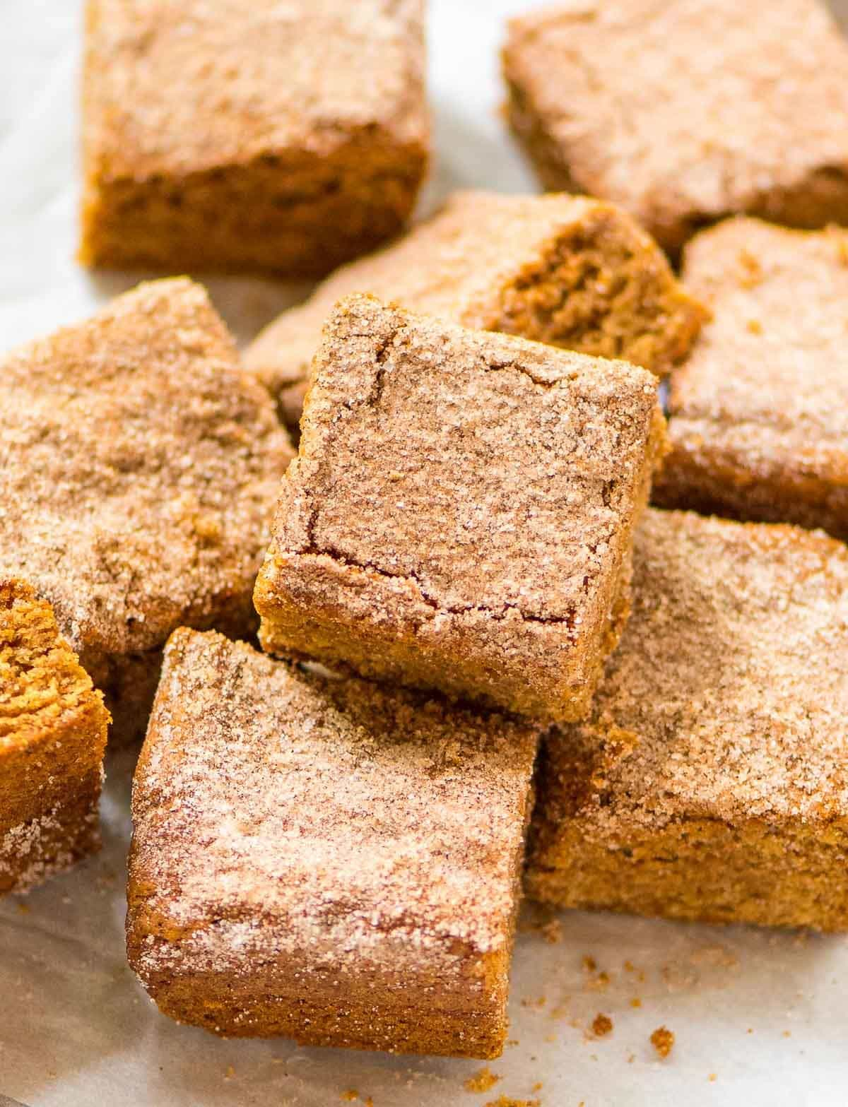The best cinnamon blondies dessert on a plate