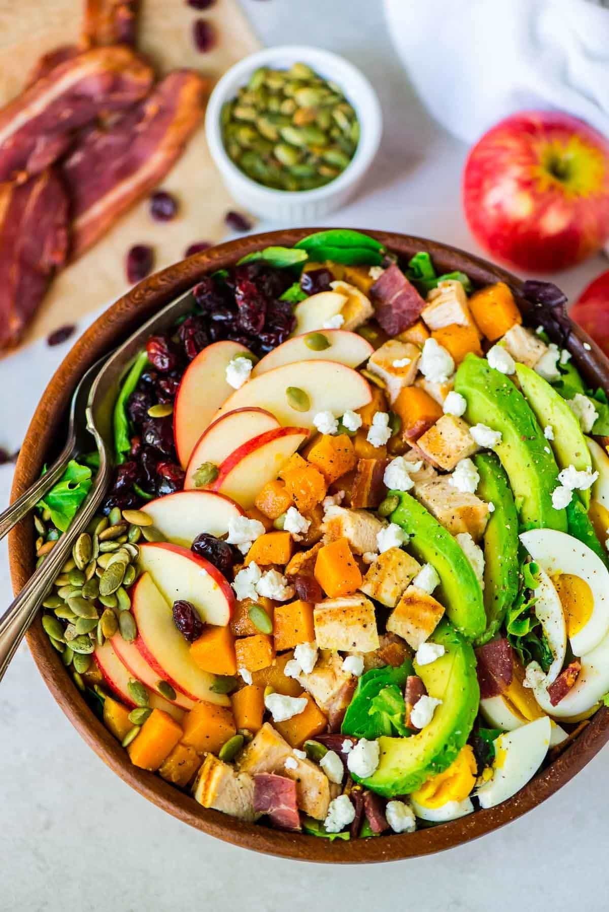 Harvest Cobb Salad with Butternut Squash Apples and Cranberries